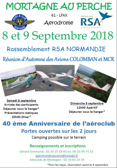Rassemblemement RSA et avions Colomban à Mortagne au Perche