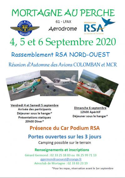 ANNULATION ! MORTAGNE AU PERCHE - Réunion d'Automne des Avions COLOMBAN et MCR